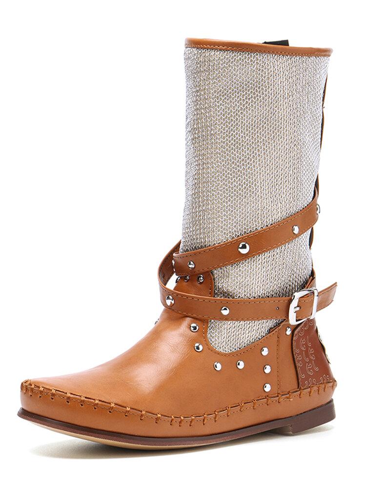 Women Large Size Belt Buckle Rivet Stitching Splicing Mid-Calf Riding Boots