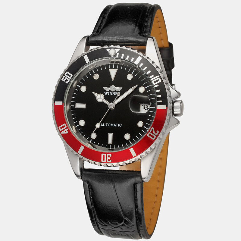 Leisure Sports Men Watch Belt Red Black Circle Waterproof Full Automatic Mechanical Watch, newchic  - buy with discount