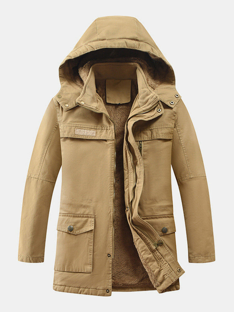 Mens Solid Color Fleece Lined Thicken Warm Casual Fit Hooded Parkas