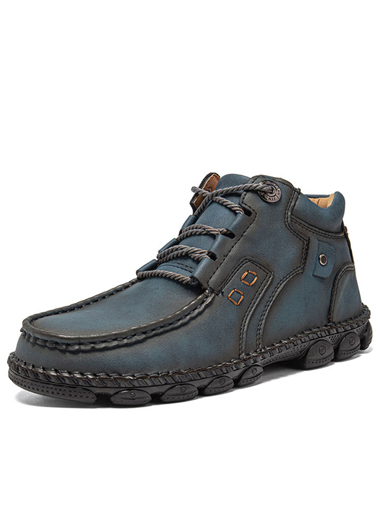 Salkin Men Hand Stitching Comfy Microfiber Leather Ankle Boots