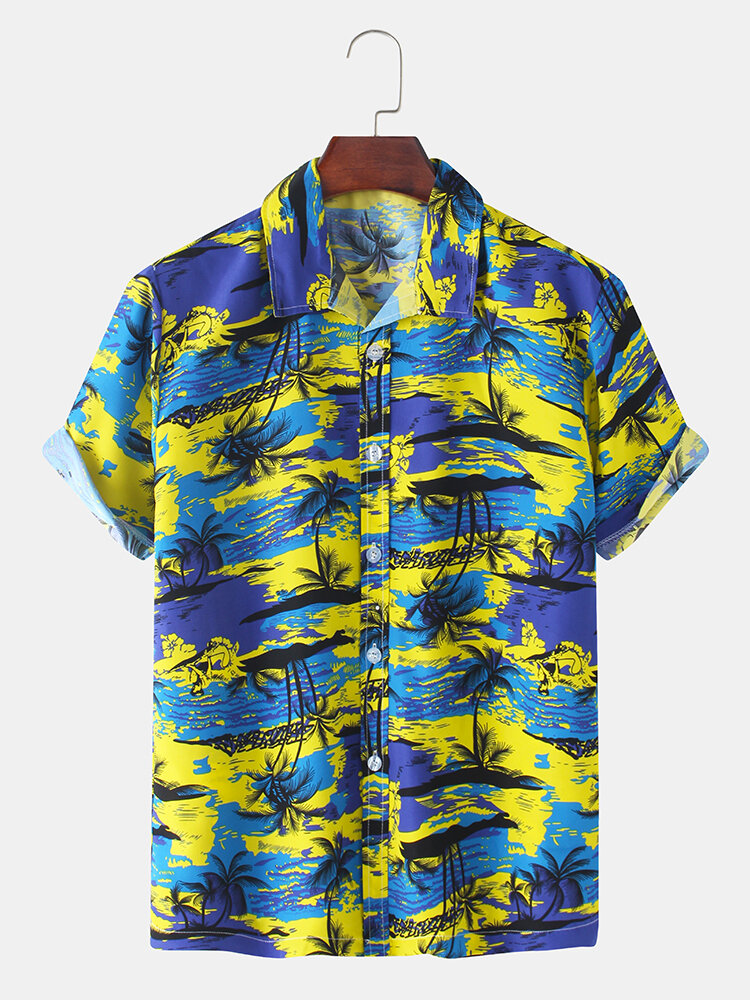 Mens Holiday Tropical Plant Printed Light Revere Collar Casual Short Sleeve Shirts