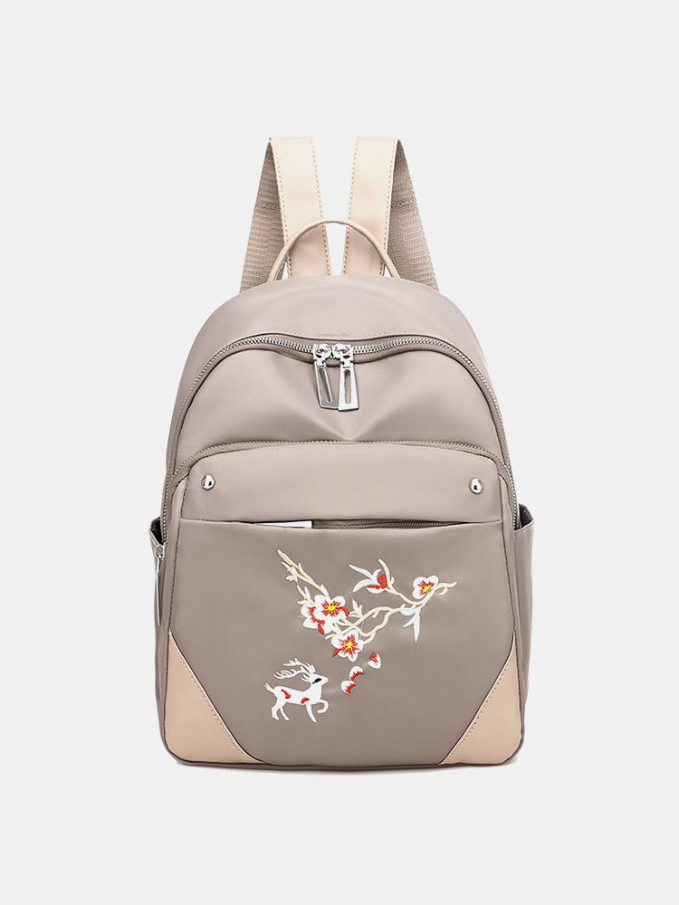 Women Waterproof Embroidered Large Capacity Backpack