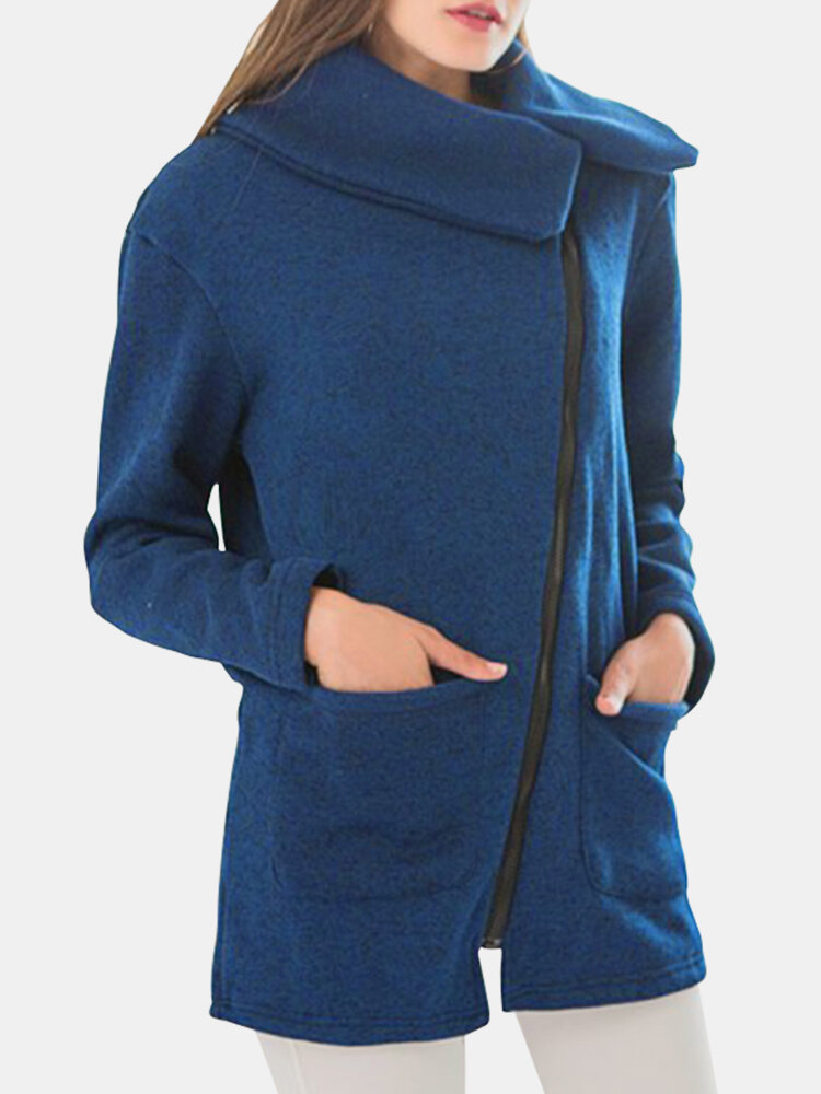 Solid Color Zipper Lapel Coat With Side Pocket For Women