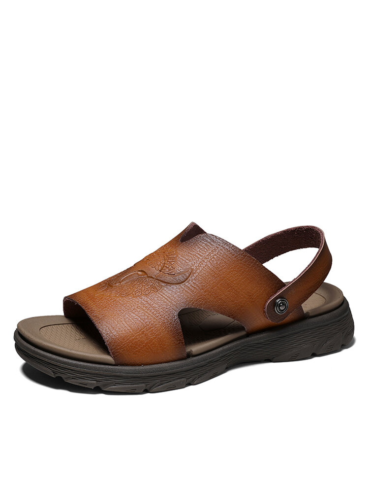 Men Cowhide Leather Two Ways Opened Toe Hard Wearing Casual Vietnam Sandals