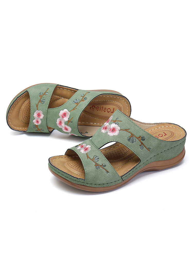 LOSTISY Flower Embroidered Vintage Casual Wedges Sandals