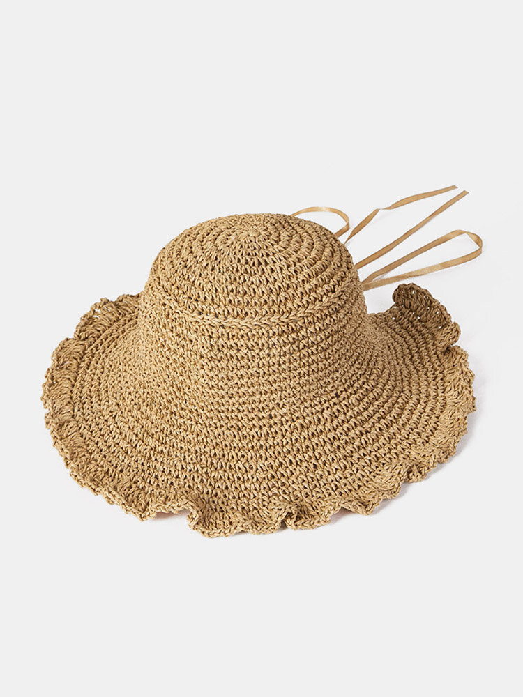 Women Solid Color Fungus Edge Back Opening Sun Protection Straw Hat