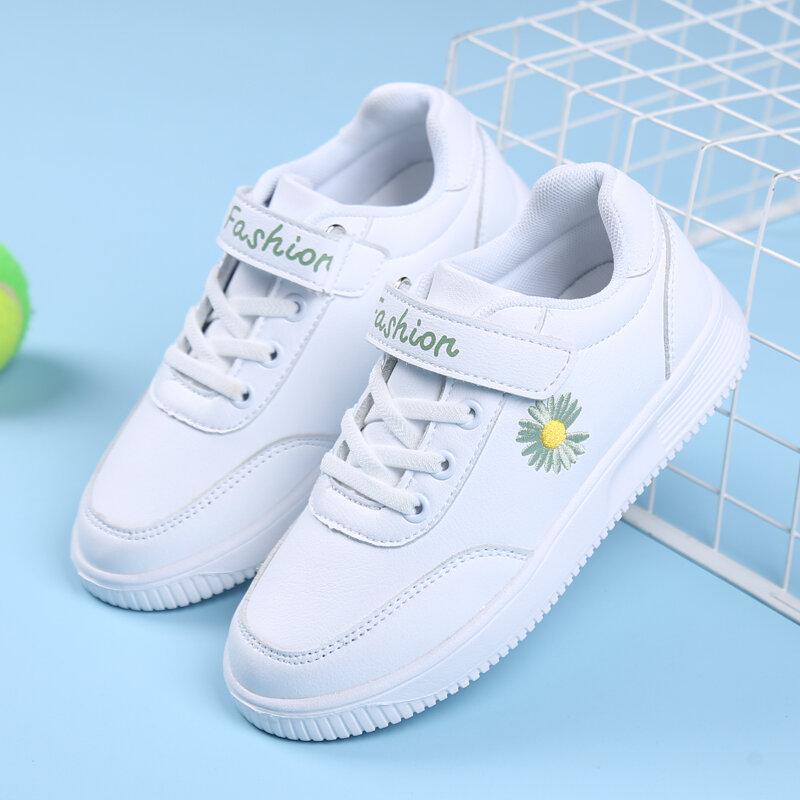 HOBIBEAR Unisex Kids Microfiber Leather Daisy Patrón Classic Student White Trainers Zapatos