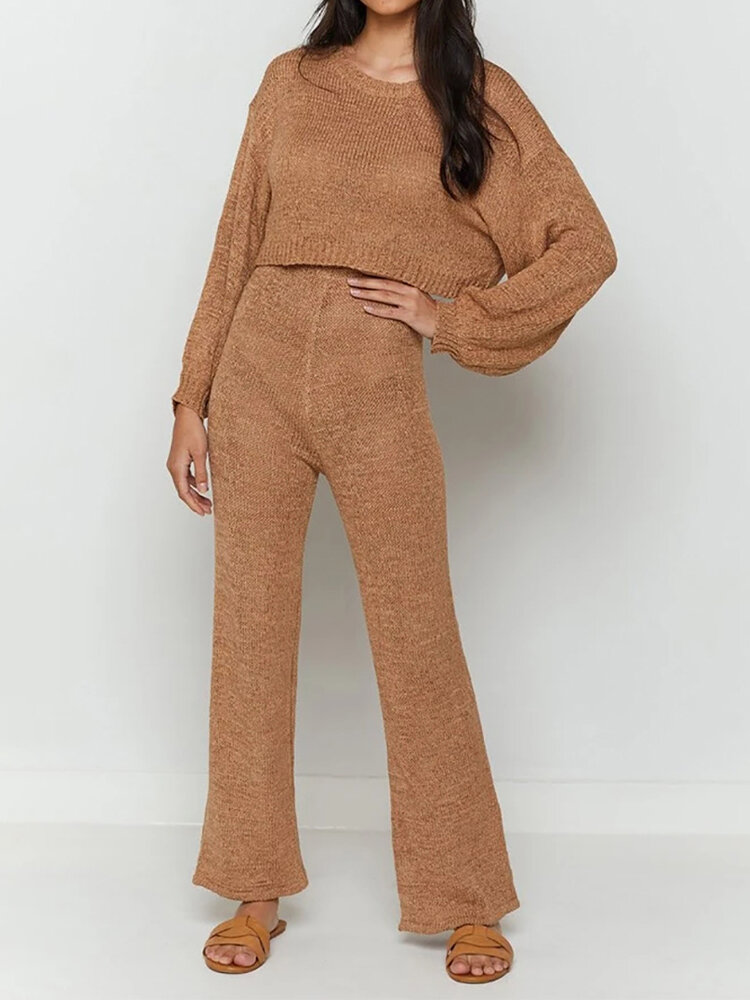 Solid Color O-neck Long Sleeve Sweater Top Straight Pants Suit