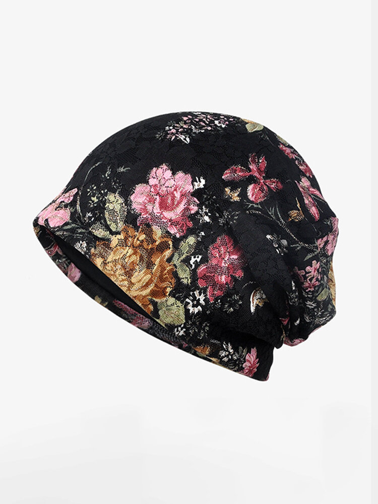 女性の花綿レースビーニー帽子民族流行ヴィンテージ良い弾性通気性ターバンキャップ