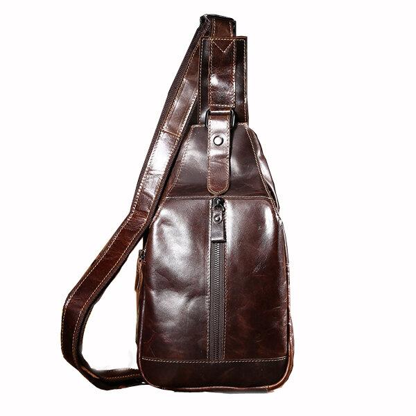 Genuine Leather Chest Bag Vintage Single-shoulder Crossbody Bag For Men