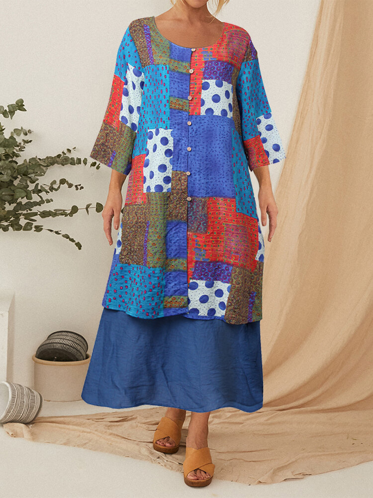 Fake Two Pieces Printed Patchwork Button 3/4 Sleeve Midi Dress