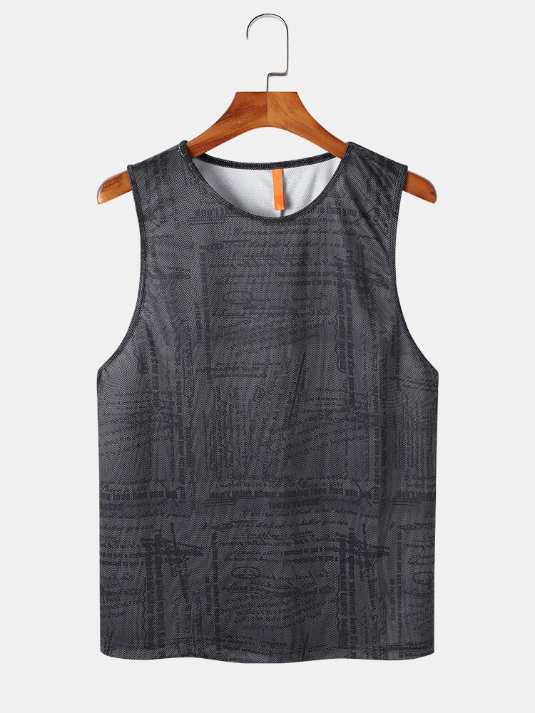 Mens All Over Print Mesh Breathable Sports Style Sleeveless Tanks
