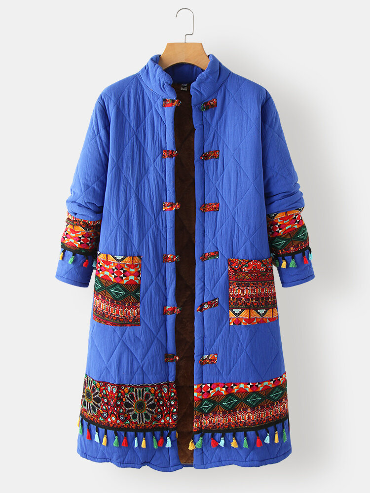 Ethnic Printed Long Sleeve Stand Collar Patchwork Coat For Women