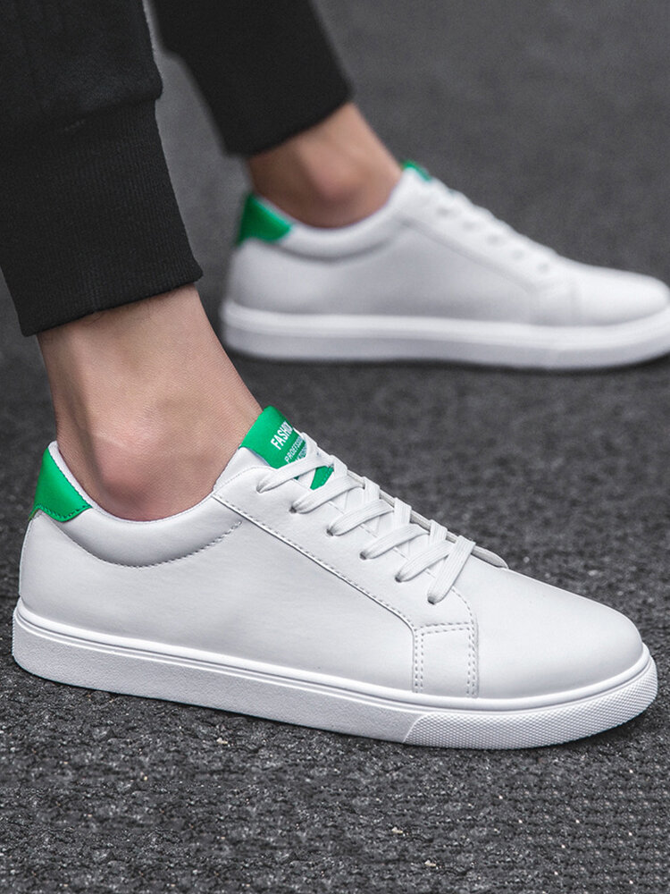 Men Breathable PU Lace-up Hard Wearing Casual Sneakers