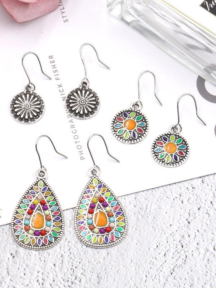 Bohemian Sun Flower Earrings 3Pair Water Drops Colorful Beads Earrings