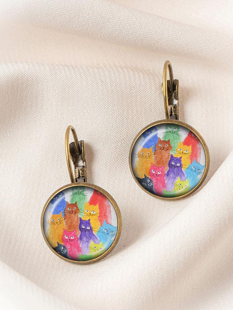 Metal Round Glass Multicolor Cat Print Women Pendant Earrings