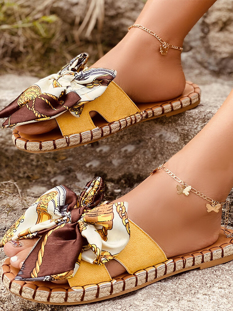 Large Size Women Printing Bow Espadrilles Slippers