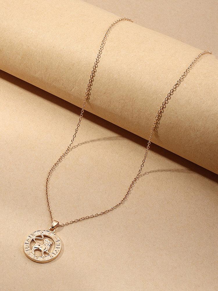 Creative Twelve Constellation Symbol Necklace Women Clavicle Chain