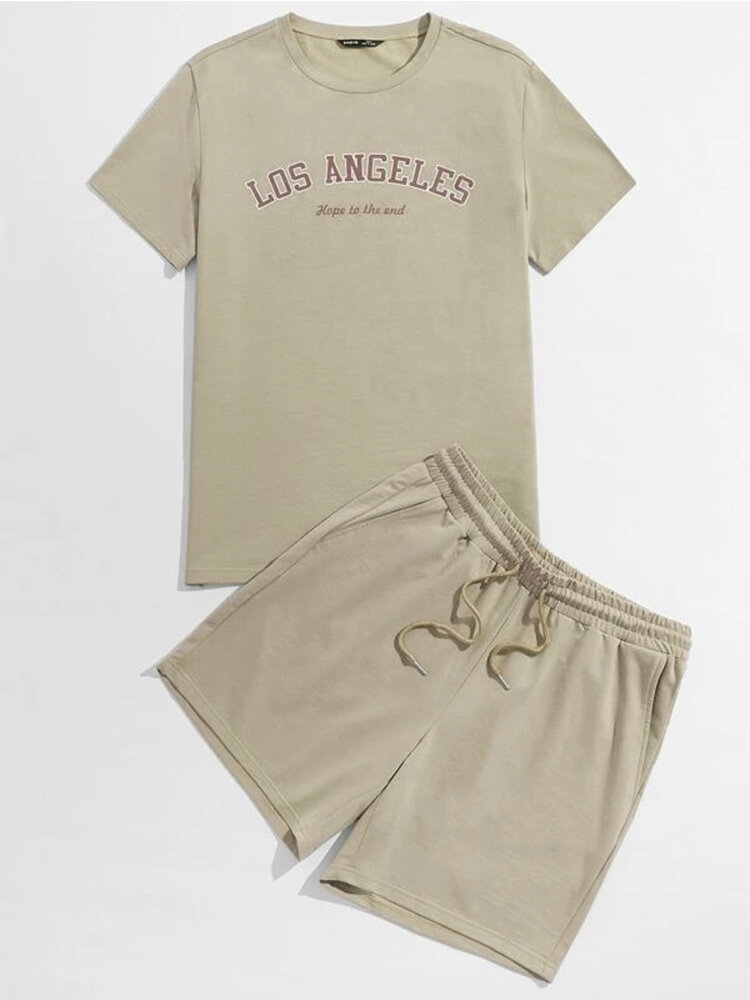 Mens Los Angeles Letter Print Short Sleeve Drawstring Two Piece Outfits