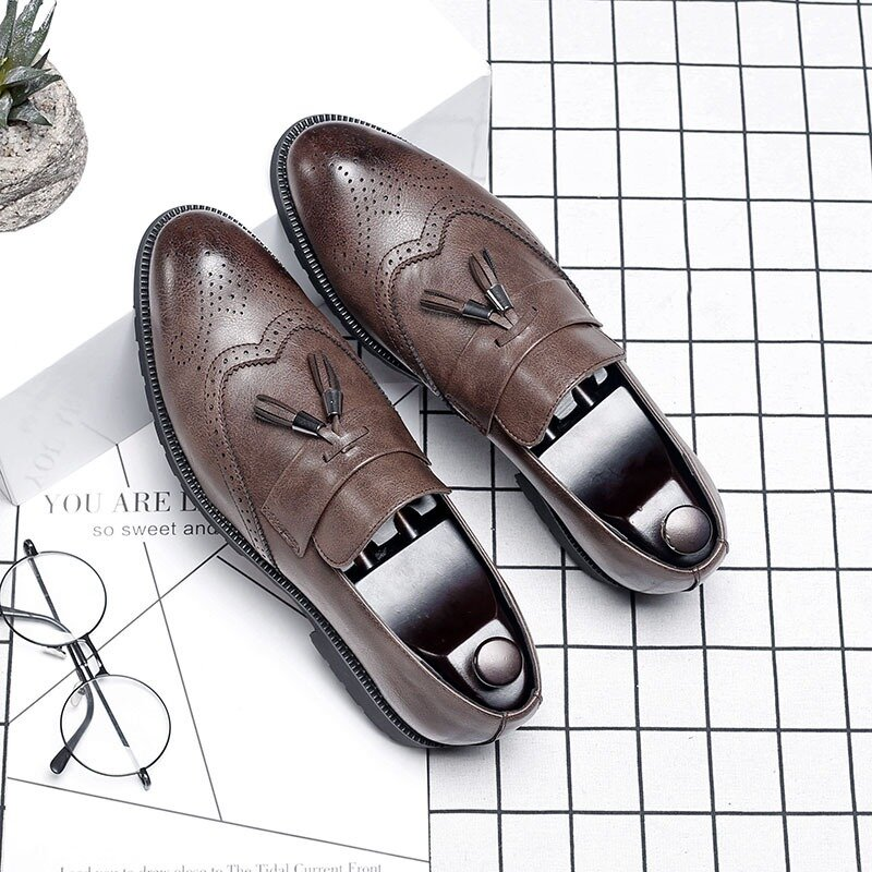 Men Tessel Brogue Slip On  Business Formal Casual Loafers