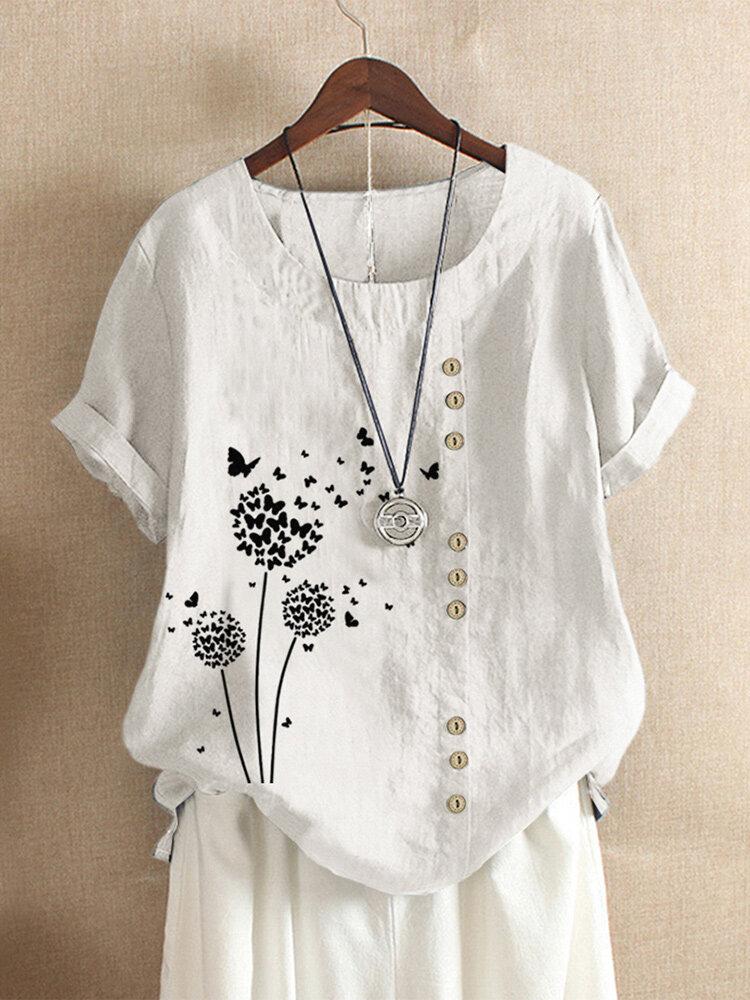 Blumen Schmetterlinge drucken O-Ausschnitt Plus Größe T-Shirt