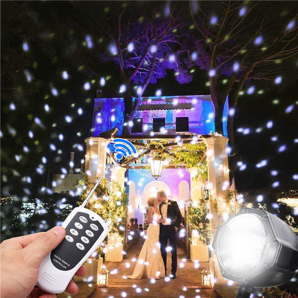4LED Christmas Projection Lamp Snow Light with Remote Control Home Garden Outdoor Decor
