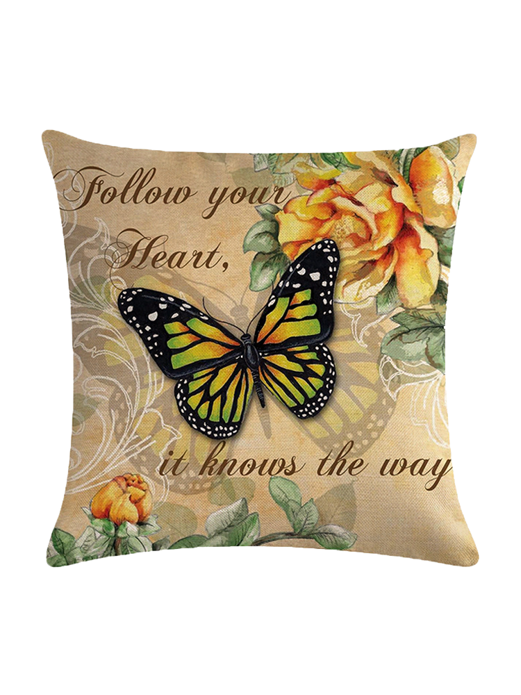 Vintage Style Butterfly Linen Cotton Cushion Cover Home Sofa Throw Pillowcases
