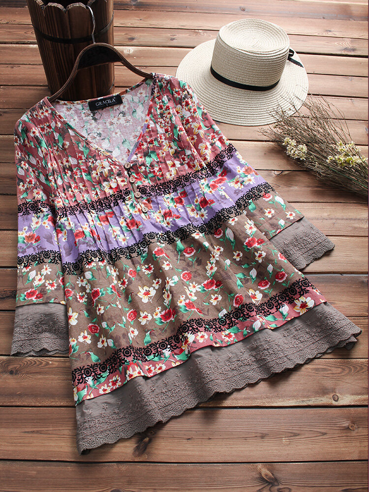 d90f77d37c85 Gracila Vintage Floral Print Patchwork 3/4 Sleeve V-neck blusas para as  mulheres - NewChic