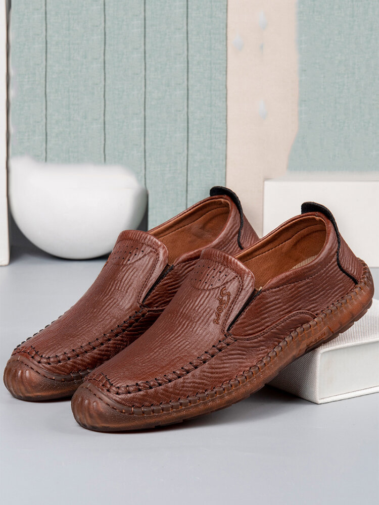 Men Hand Stitching Microfiber Leather Non Slip Casual Slip On Shoes