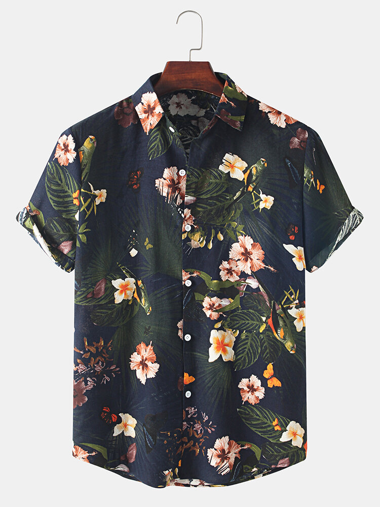 Mens Holiday Vintage Floral Print Lapel Button Casual Short Sleeve Shirt