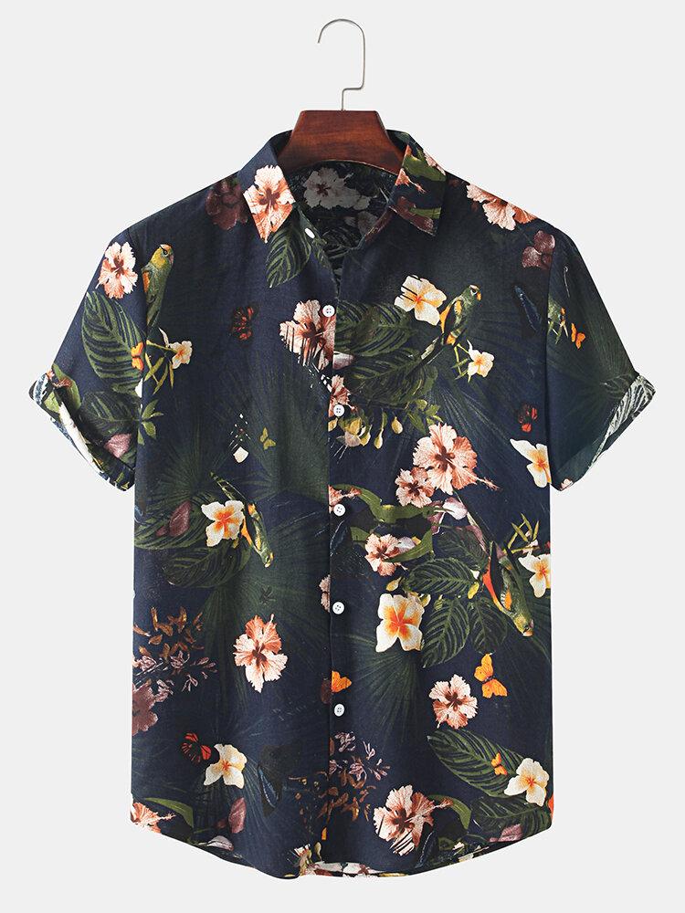 Chemise à manches courtes décontractée à imprimé floral vintage pour hommes