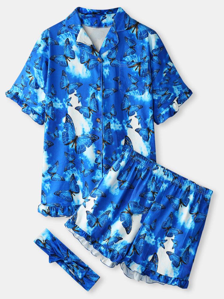 Большие размеры Женское Домашние пижамные комплекты с принтом бабочек и воротником Revere с короткими рукавами