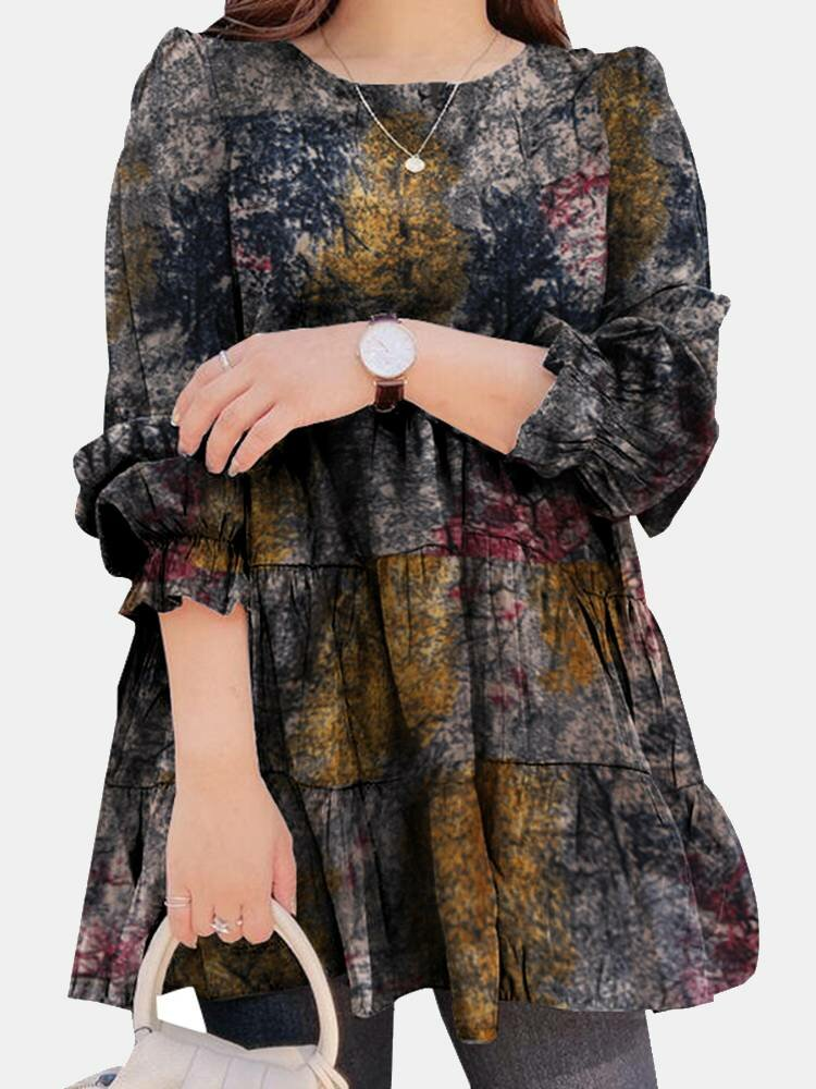 Painted Print Long Sleeve O-neck Vintage Blouse for Women
