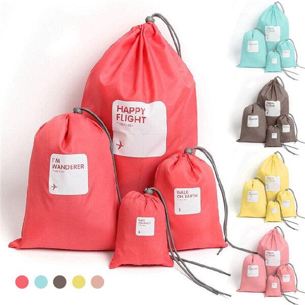 Casual 4 PCS Nylon Waterproof Beam Port Storage Bag Clothes Shoes Cosmetic Bag Travel Bag