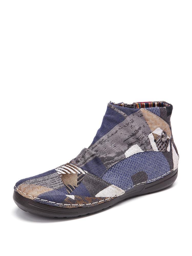 SOCOFY Retro Pattern Cloth Splicing Metal Buckle Zipper Soft Flat Boots