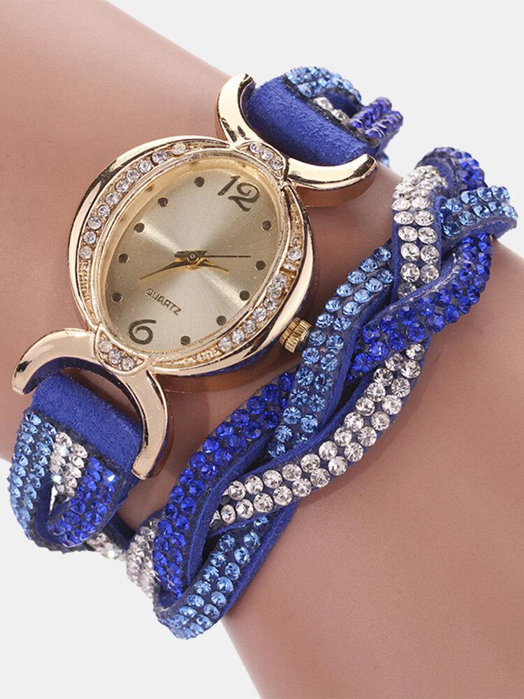 Fashion Quartz Wristwatch Colorful Leather Rhinestone Strap Causal Bracelet Watch for Women