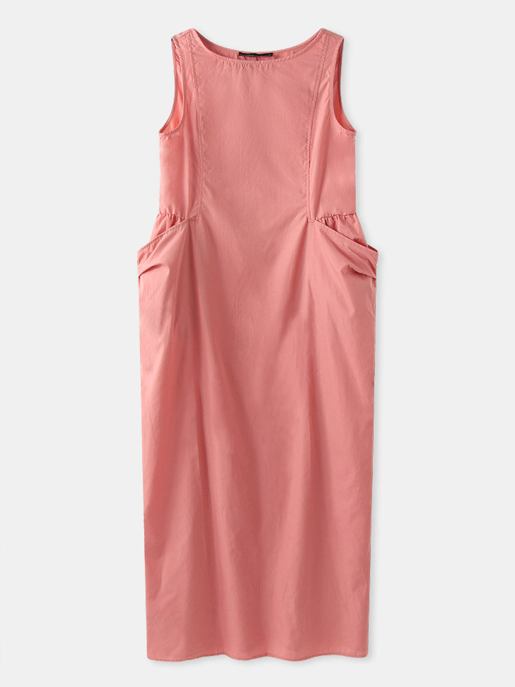 Solid Color Sleeveless Pockets Plus Size Long Dress