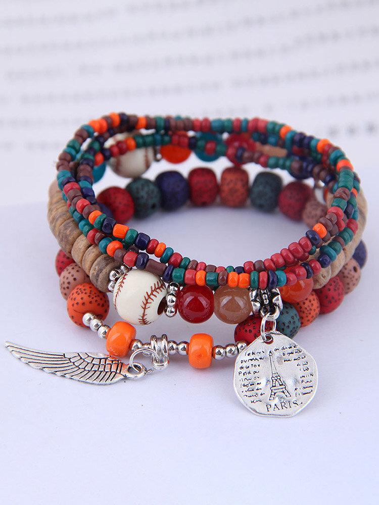 Vintage Multicolor Beads Multi-layer Bracelet Temperament Wing Pendant Bracelet