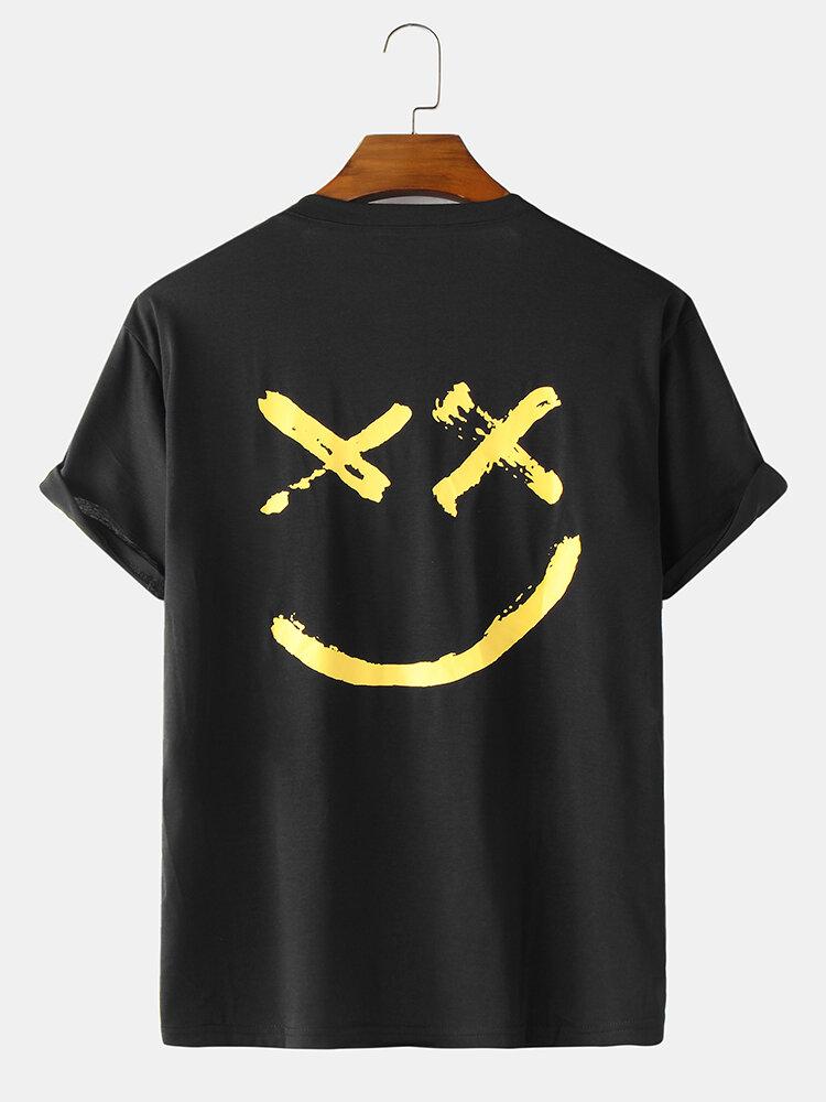 Mens Slogan Grimace Back Print Loose Cotton Short Sleeve T-Shirts