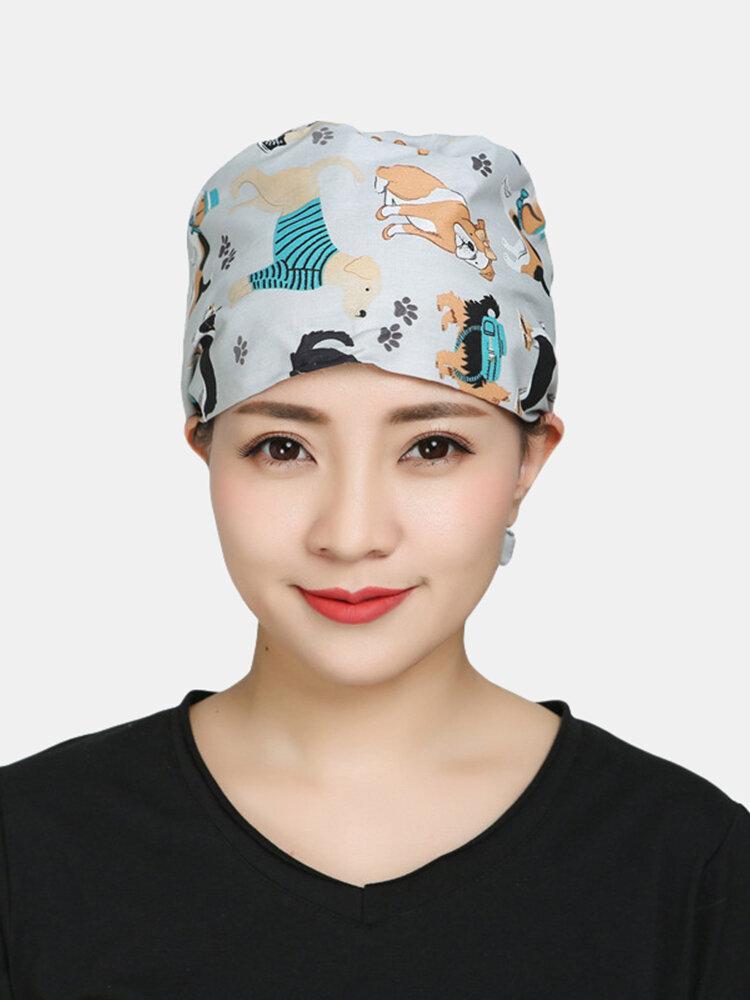 Surgical Cap Scrub Caps Dustproof Cotton Printed Beautician Hat