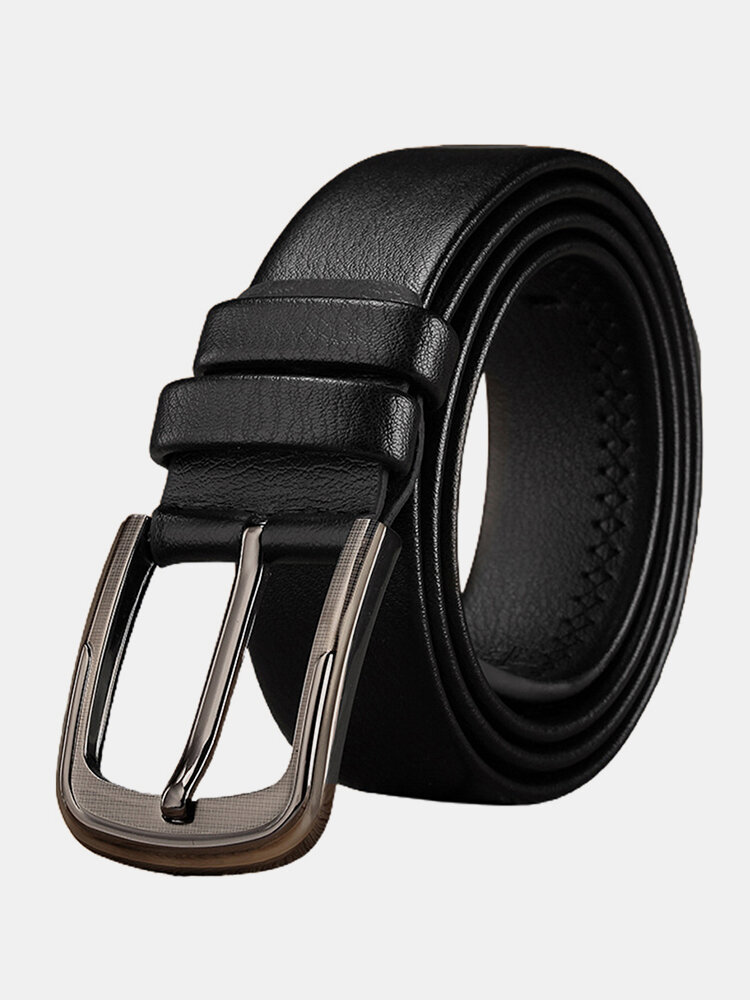 120CM Men Leather Square Pin Buckle Lychee Pattern Belt Solid Color Casual All-match Belt