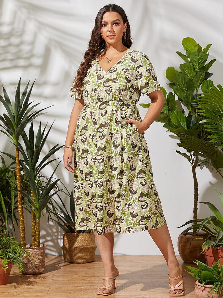 Cat Bird Leaves Print Bolso com decote em V Plus tamanho vestido casual