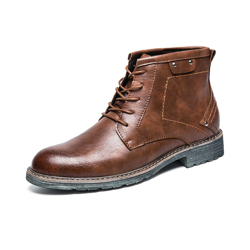 Men Microfiber Leather Outdoor Work Style Motorcycle Boots