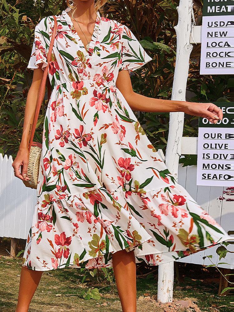 Holiday Bohemian Fungus V-neck Short Sleeve Flower Women Print Dress