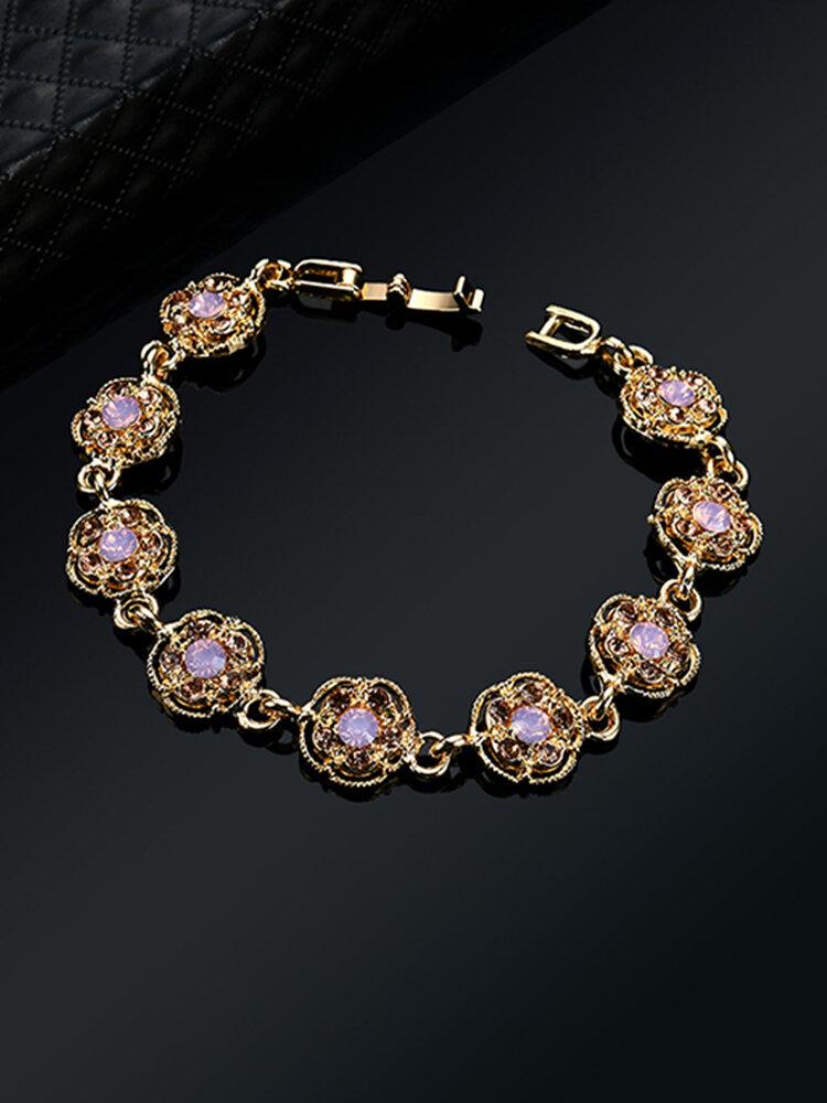 Luxury Gold Plated Pink Crystal Bracelet Elegant Flower Charm Bracelet Gift Jewelry for Women