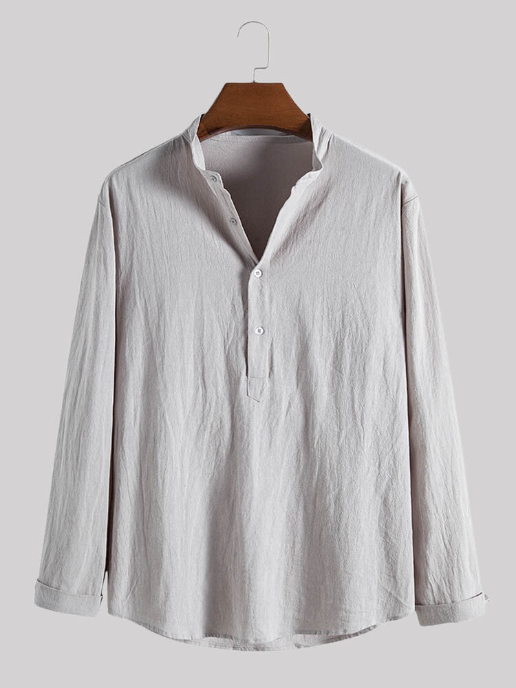 Mens Linen Solid Color Half Button Casual Long Sleeve Henley Shirts
