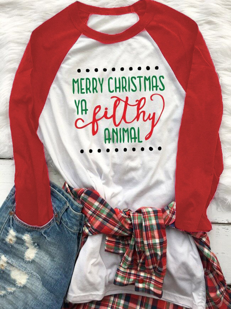 Christmas Letter Print Contrast Color O-neck Casual T-shirt