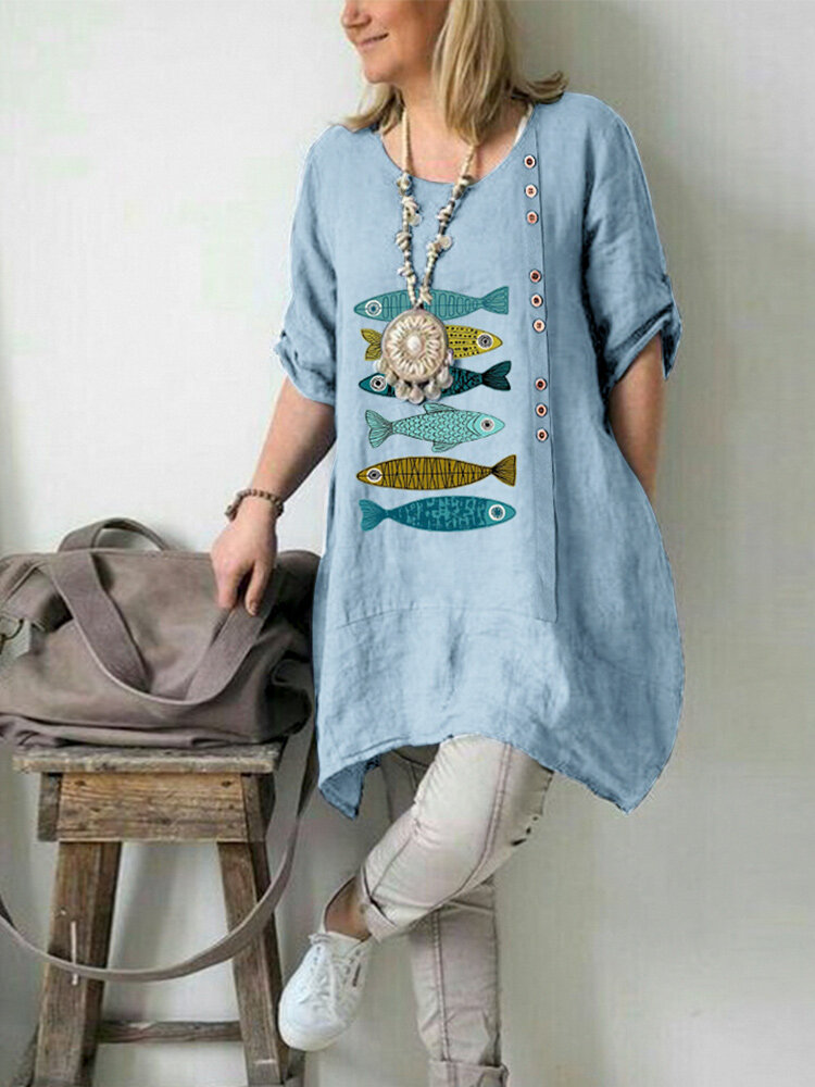 Cartoon Fishes Embroidery Loose Plus Size Blouse