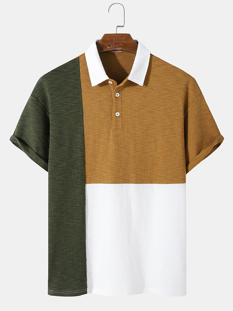 Mens Design Tricolor Patchwork Knitted Ribbed Texture Short Sleeve Golf Shirt