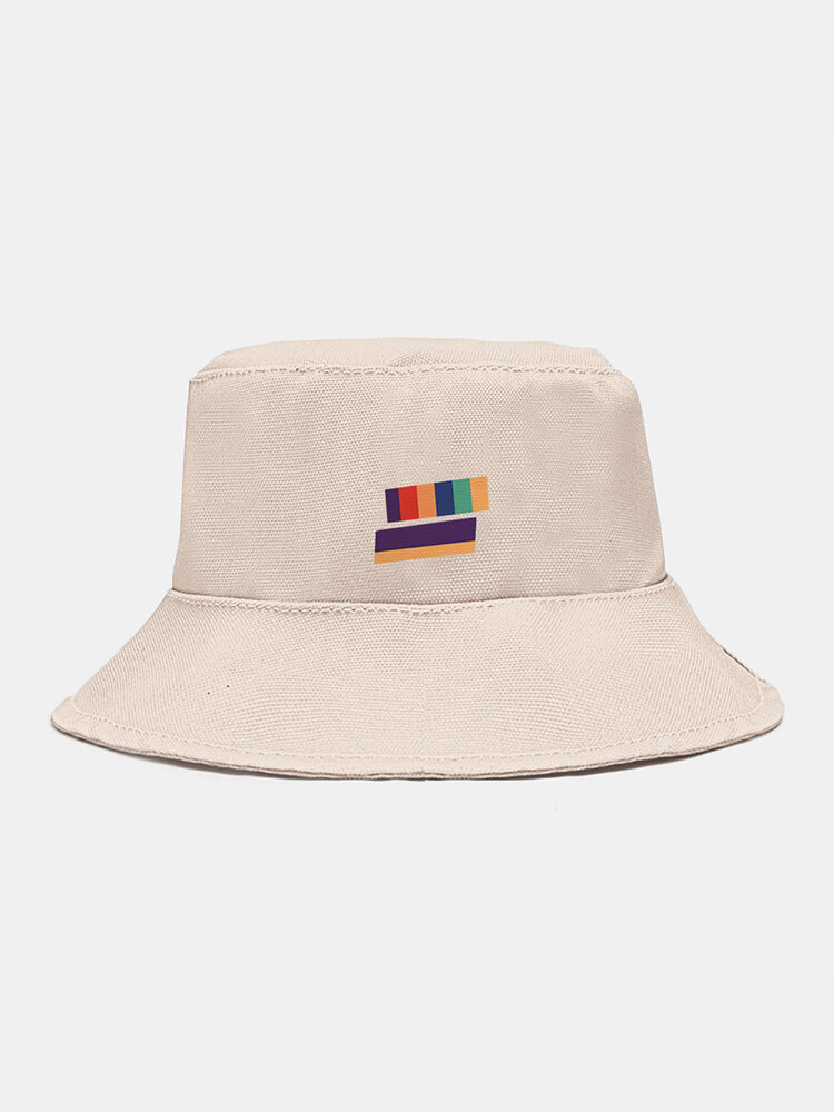 Unisex Canvas Color-matching Striped Pattern Print Fashion Sunscreen Bucket Hat